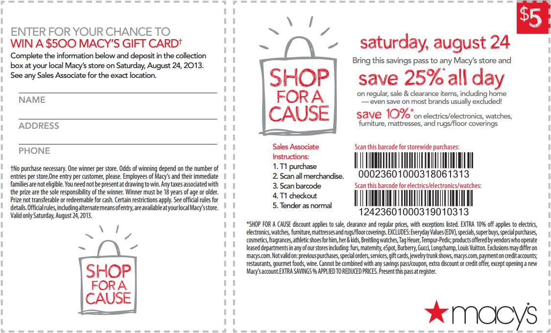 Macy's Shop For A Cause Savings Pass